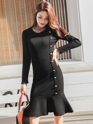 Picture of Women's Mermaid Dress Fashion O Neck Button Long Sleeve Dress - Size: 3XL