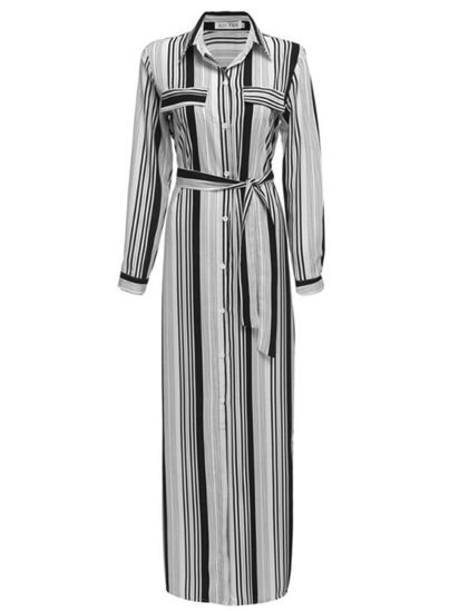 Picture of Women's A Line Dress Striped Button Split Maxi Long Dress - Size: L