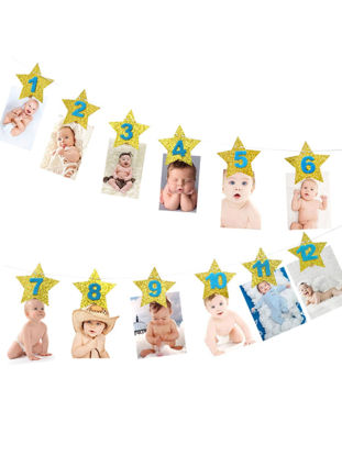 Picture of 1 Set Baby Birthday Banner Crowns Design Party Decorations - Size: One Size