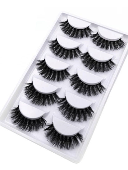 Picture of 5 Pairs 3D Soft Mink Hair Artificial Eyelashes Wispy Fluffy Long Lashes Natural Eye Makeup