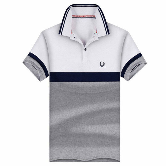 Picture of Men's short-sleeved t-shirt lapel shirt casual stitching shirt tide fashion youth handsome bottoming shirt - Size: XL
