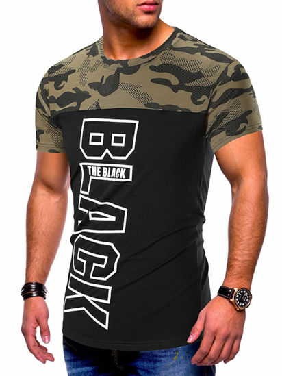 Picture of Men's T Shirt Fashion Letter Print Patchwork O Neck Short Sleeve Top - Size: XXL