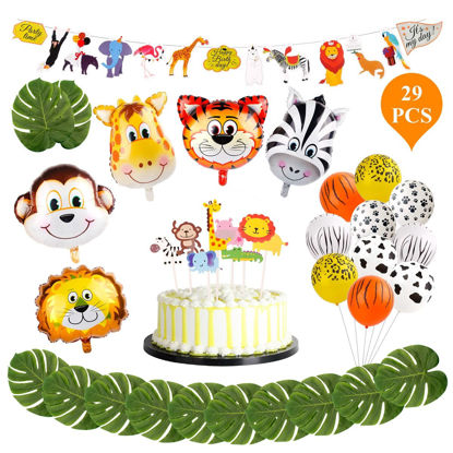 Picture of 29Pcs Animal Jungle Set Party Balloon Banner Birthday Party Decoration Set - Size: One Size