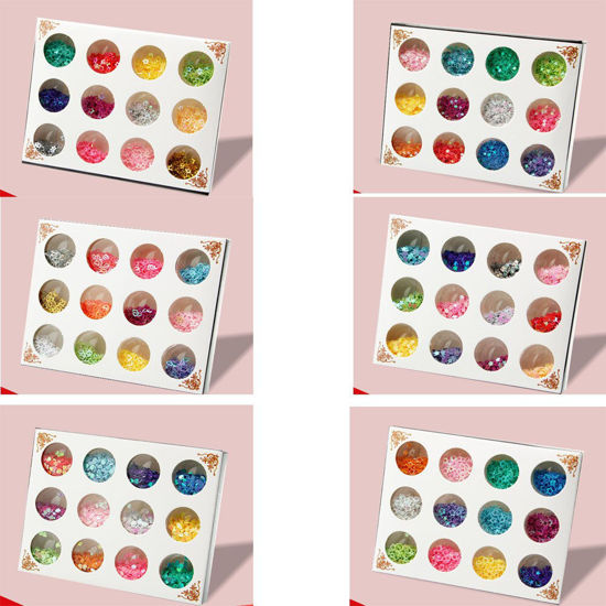 Picture of 12 Colors Geometric Glitter Nail Decoration Fashion Shimmer DIY Manicure Art Decoration
