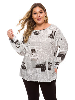 Picture of Women's T Shirt Plus Size O Neck Print Long Sleeve Top - Size: L