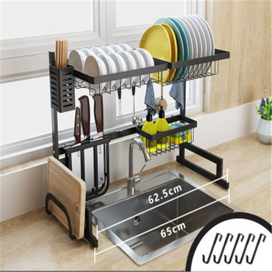 Picture of Kitchen Storage Rack Double Layers Bowl Plate Drain Shelf - Size: One Size
