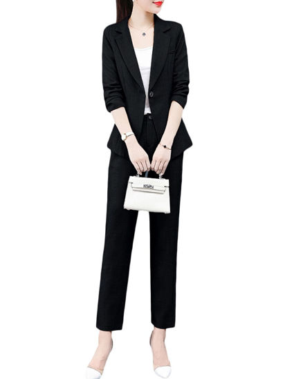 Picture of Women's 2Pcs Sets Long Sleeve Single Button Blazer Solid Color Suit Pants Set - Size: XXL