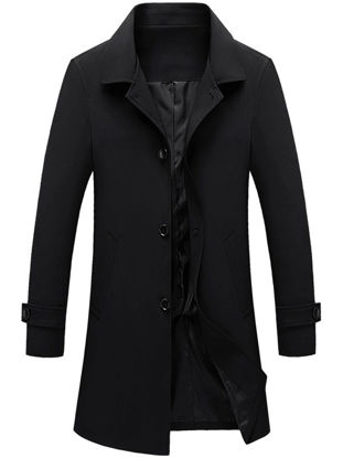 Picture of Men's Trench Coat Turn Down Collar Button Slim Fashion Coat - Size: M
