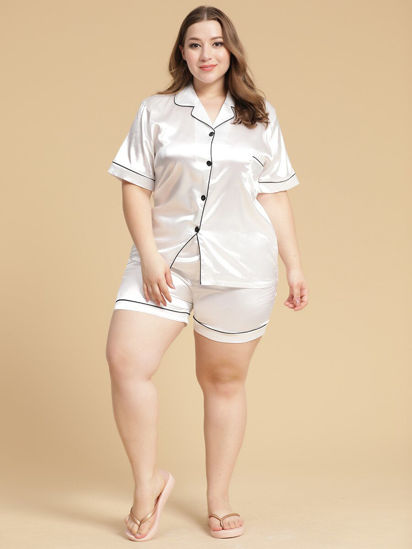 Picture of Women's Plus Size Pajamas Set Silk Like Short Sleeve Shorts Casual Home Set - Size: 5XL