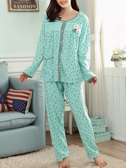Picture of Women's Plus Size Pajamas Set Long Sleeve Pants Cute Sweet Style Home Set - Size: 5XL