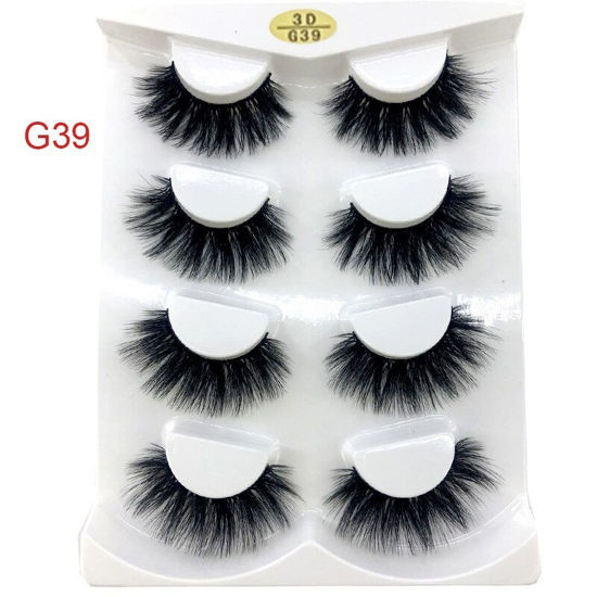 Picture of 4 Pairs Thick Lengthening Artificial Eyelashes Handmade Resuable Eyelashes Extension Eye Makeup