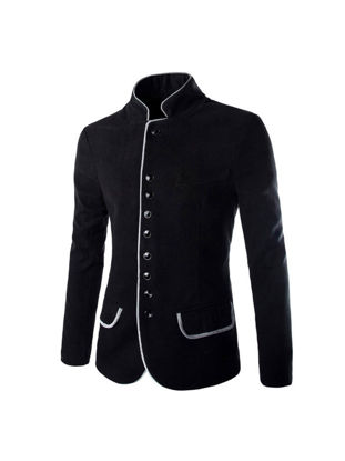 Picture of Men's Coat Stand Collar Single Breasted Long Sleeve Casual Blazer(Size Is A Little Smaller) - XL