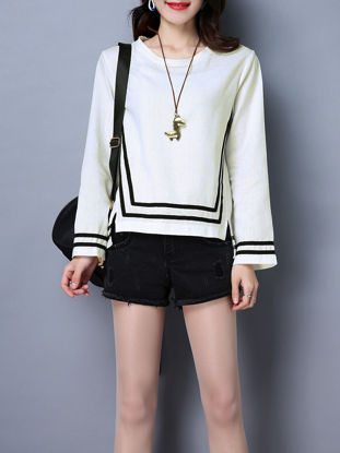 Picture of Women's T Shirt O Neck Long Sleeve Striped Top - M