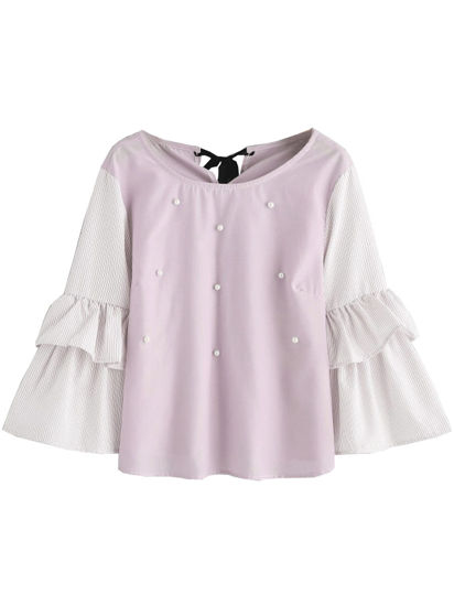 Picture of Women's Blouse O Neck Flare Sleeve Patchwork Beading Sweet Top - L