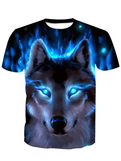 Picture of Men's T Shirt O Neck Short Sleeve Print Animal Casual Top - XL