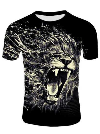 Picture of Men's Plus Size T Shirt Design Animal Pattern Comfy Breathable Top - XL