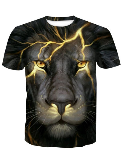 Picture of Men's T Shirt Lion Pattern Short Sleeve Fashion Mens Top - XL