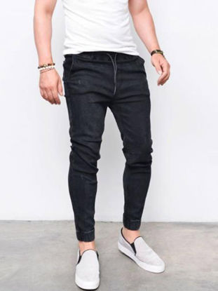 Picture of Men's Slim Jeans Breathable Fashion Elastic Skin-Friendly All Match Denim Jeans - S