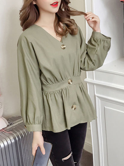 Picture of Women's Blouse Fashion V Neck Slim Top - M