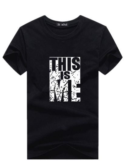 Picture of Men's T Shirt O Neck Short Sleeve Print Letter Cozy Top - 3XL