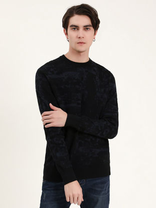 Picture of Men's Sweater Patchwork O Neck Long Sleeve Knitwear - XL