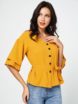 Picture of Women's Blouse Solid Color Slim Butten Sash Top - M