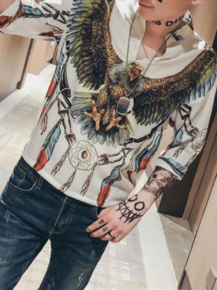 صورة Men's Shirt Half Sleeve Stand Collar V Neck Animal Printed Casual Top - M