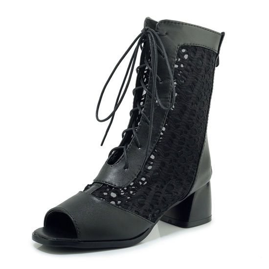 Picture of SexeMara Women's Ankle Boots Lacing Peep Toe Thick Heel Simple Hollow Out Shoes - 43