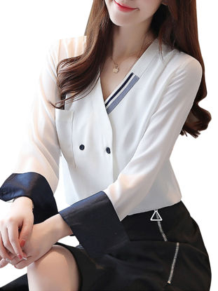 Picture of Women's Shirt Long Sleeve V Neck Patchwork Top - M