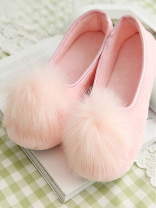 Picture of One Pair Women's Slippers Lovely Plush Ball decor Comfy Home Shoes - 39-40
