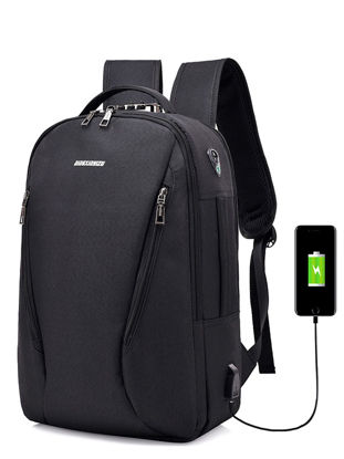Picture of Men's Backpack Zipper Large Capacity USB Charging Interface Functional Bag - One Size