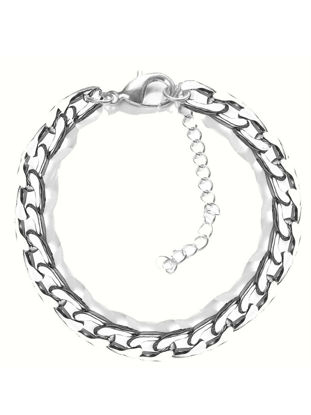 Picture of Men's Bracelet Solid Color Simple Style Stainless Steel Bracelet Accessory - One Size