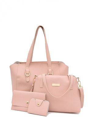 Picture of 4Pcs Women's Shoulder Bag Set Large Capacity Solid Color All Match Bags Set - One Size