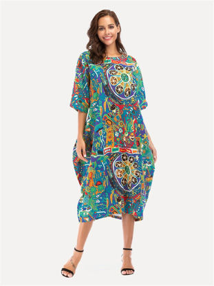 Picture of Women's Dress Vintage Pattern Half Sleeve Loose Maxi Long Dress - L