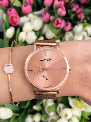Picture of Women's Fashion Watch Simple Big Round Dial Stylish Quartz Design Watch Accessory - One Size