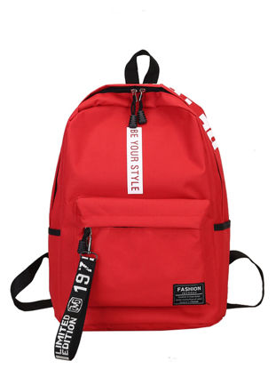 Picture of Women's Backpack Color Block Large Capacity Letter Print Backpack - One Size