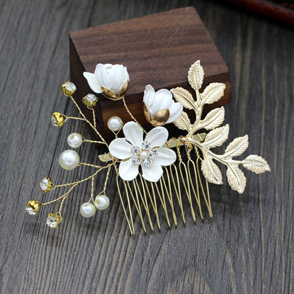 Picture of Women's Hair Clip Flower Wedding Bride Hair Comb for Party - One Size