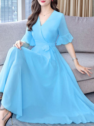 Picture of Women's Aline Dress V Neck Flare Sleeve Solid Color Maxi Long Dress - M
