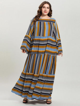 Picture of BNSQ Women's Plus Size Dress Stripe Long Sleeve Casual Dress - XXL