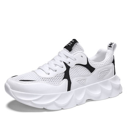 Picture of Men's Running Shoes Low Top Lacing Breathable Color Block Sports Shoes - 37