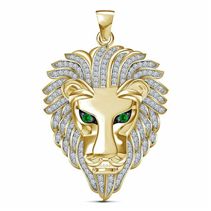 Picture of Men's Necklace Lion Head Pendant Rhinestone Inlay Fashion Necklace Accessory - One Size