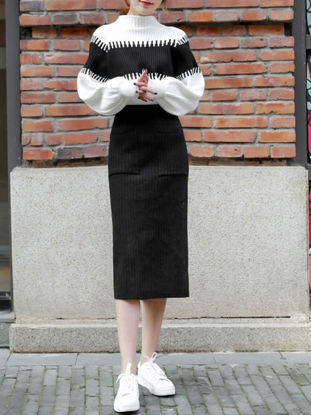 Picture of Women's Two-Piece Skirt Set Long Sleeve Sweater Loose Skirt Set - Free