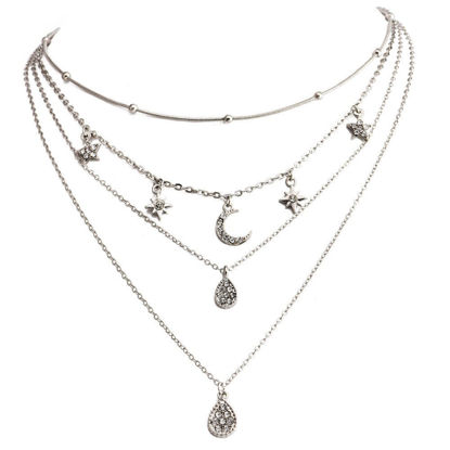 Picture of Women's Multi Layer Necklace Moon Water Drop Shaped Imitation Rhinestone Decor Elegant Necklace - One Size