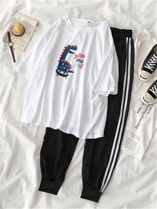 Picture of Women's Two-Piece Set Cute Cartoon Pattern Casual Top Sports Pants Suit - XL