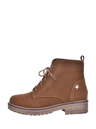 Picture of Retro Solid Color Metal Star Ornament Lace Up Women's Boots - 43