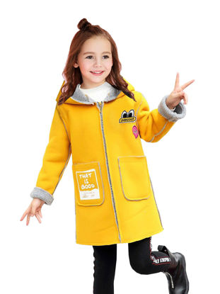 Picture of Girls Girl's Wool Blend Coat Plush Lining Back Letter Hooded Coat - Reference Height:120cm