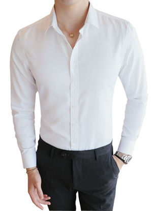 Picture of Men's Shirt Long Sleeve Solid Turn Down Collar  Leisure Shirt - XL