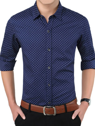 Picture of Zhuowolves Men's Shirt Casual Polka Dots Fashion Long Sleeve All Match Shirt - L