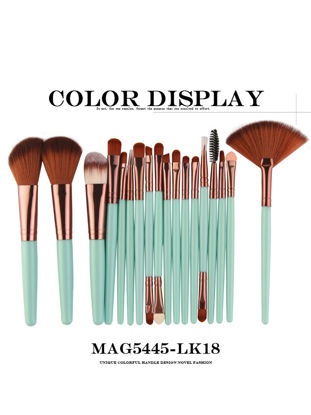Picture of 18 Pieces Women's Makeup Brushes Set Professional Delicate Perfect Blend Brushes Kits