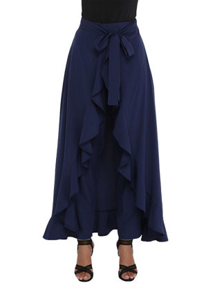 Picture of Women's Skirt Solid Color High Waist Ruffled Patchwork Bow Maxi Long Skirt - S